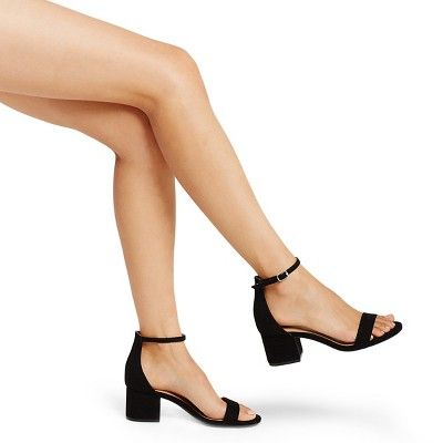 1429f5a94cc Women s Marcella Low Block Heel Pumps with Ankle Straps Merona - Black 7.5