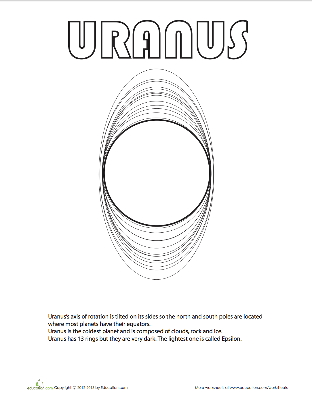 Uranus Coloring Page Planet Coloring Pages Solar System Lessons Planets