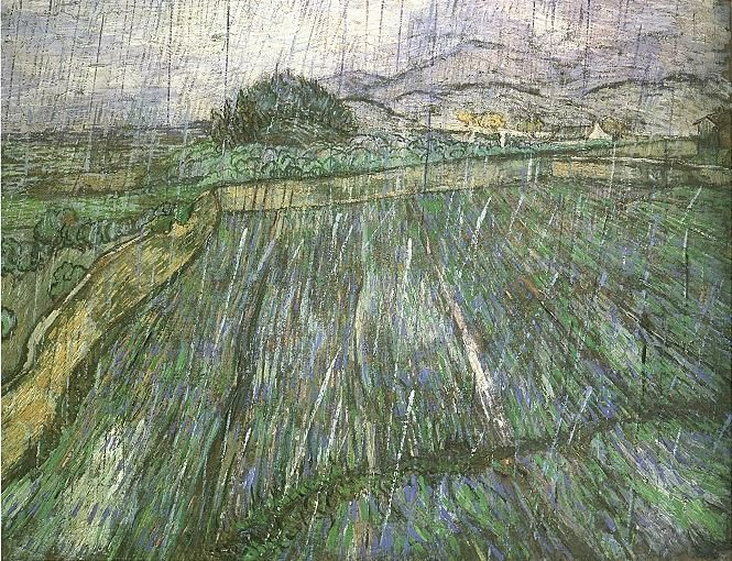 "Vincent Van Gogh, ""Rain"" (1889).  Texture and soft stormy color;  I can almost hear these rain drops."