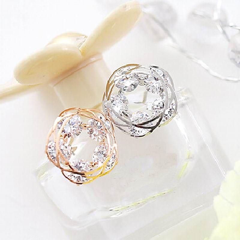 f7b0eea03 Sparkly zircon gold plated stud earrings for women bijoux fashion jewelry  female gift