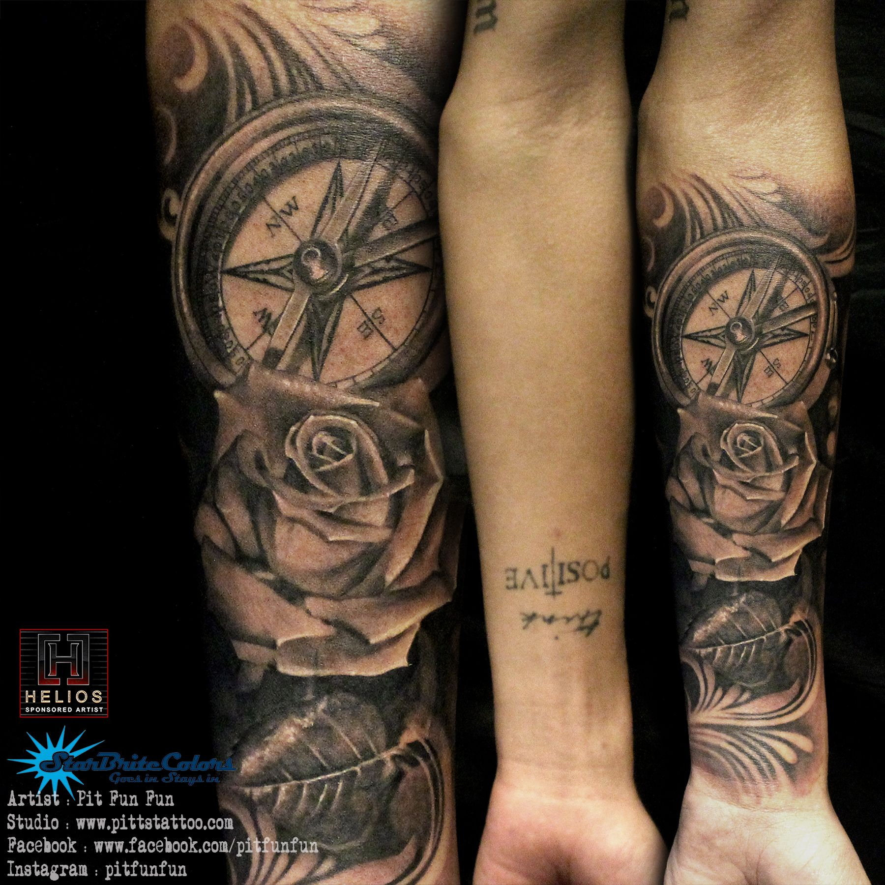 Realistic compass and rose tattoo by Pit Fun facebook