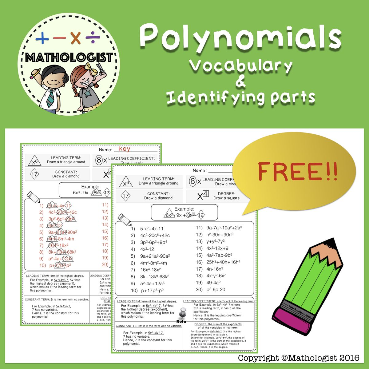 Polynomials Vocabulary Identifying Parts Of Polynomials