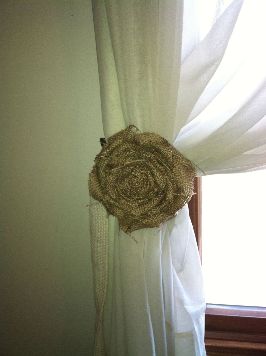 Burlap Curtain Tie Back Pair Natural Loosely Wrapped 5 Flower