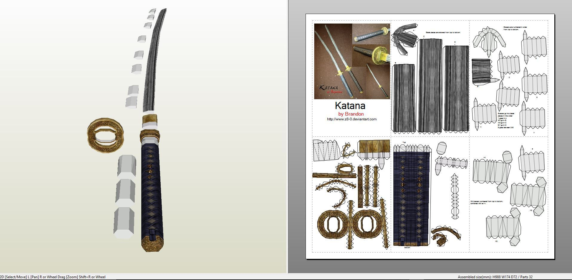 Papercraft .pdo file template for Weapons - Katana. | origami ...