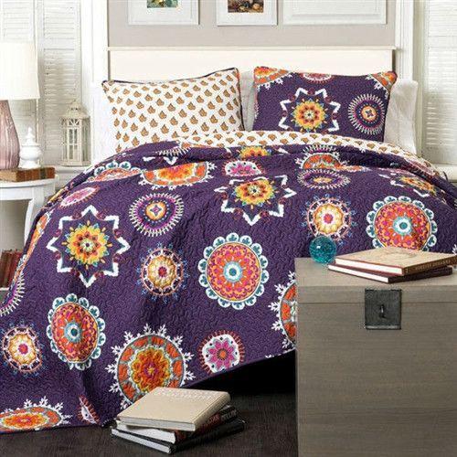 King Purple Orange Blue Paisley Geometric 100% Cotton 3 Piece Quilt Coverlet Bedspread Set