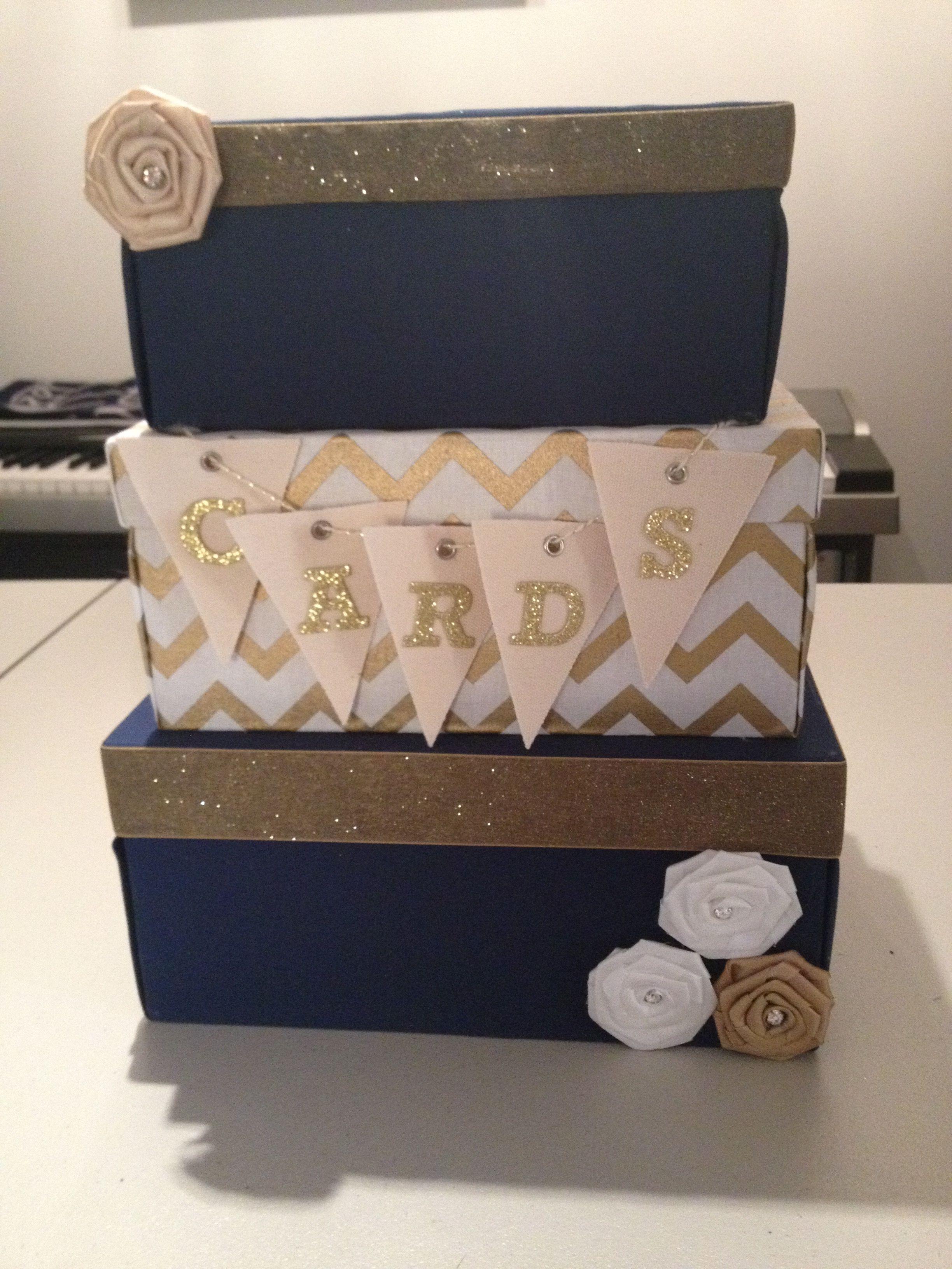 Blue and gold wedding card box wedding navy blue gold