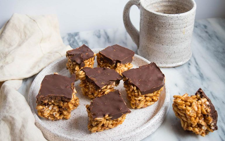 Almond butter chocolate puffed rice squares recipe