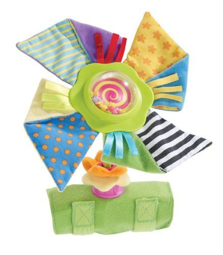 Early Years Pinwheel Stroll Along Toy by International Playthings. $4.99. From the Manufacturer                Soft, safe take-along pinwheel spins and sins with just a light push. Easily attaches to most strollers and amny carriers, high chairs, and activity centers. Features super chunky petals, soft flower beads, satin ribbons and multi-shaped beads inside the dome that rattles as it spins.                                    Product Description                E00279...