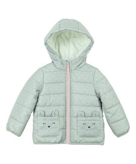 37485807f Carters Gray Polka Dot Hooded Puffer Coat - Infant