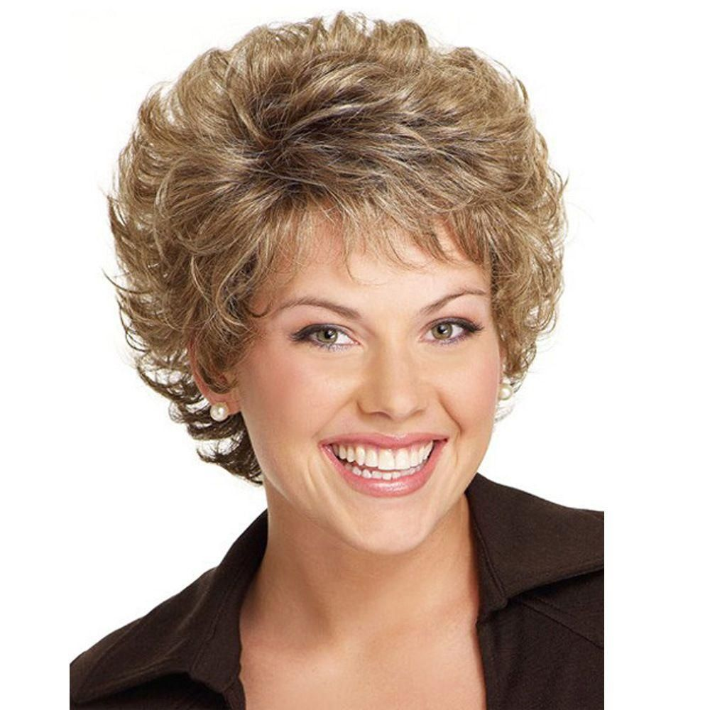 Women Vintage Style Short Length Fringe Curly Hair