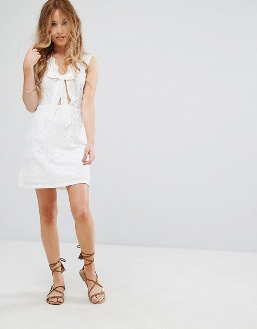c94131a0c488 Asos - Boohoo Petite Tie Front Lace Trim Swing dress in white | plunge  neck, a-line skirt.