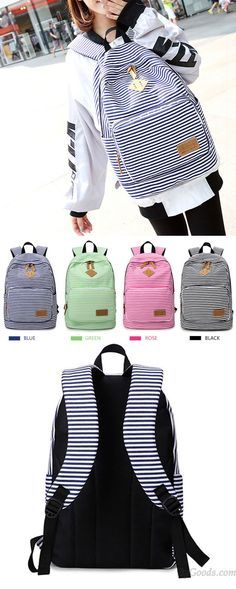 Summer Striped Leisure Canvas Backpack is so cute !  summer  leisure   backpack  canvas  backpack  Bag  college  student  school  rucksack  travel   cute 4bfbd3d68e6f8
