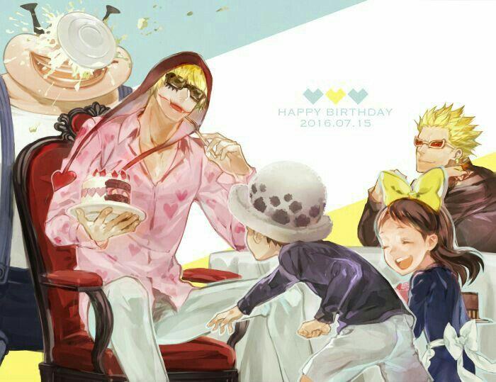 Happy Birthday Corazon, funny, text, Corazon, Law, Baby 5, Buffalo, Doflamingo, young, childhood, cake; One Piece