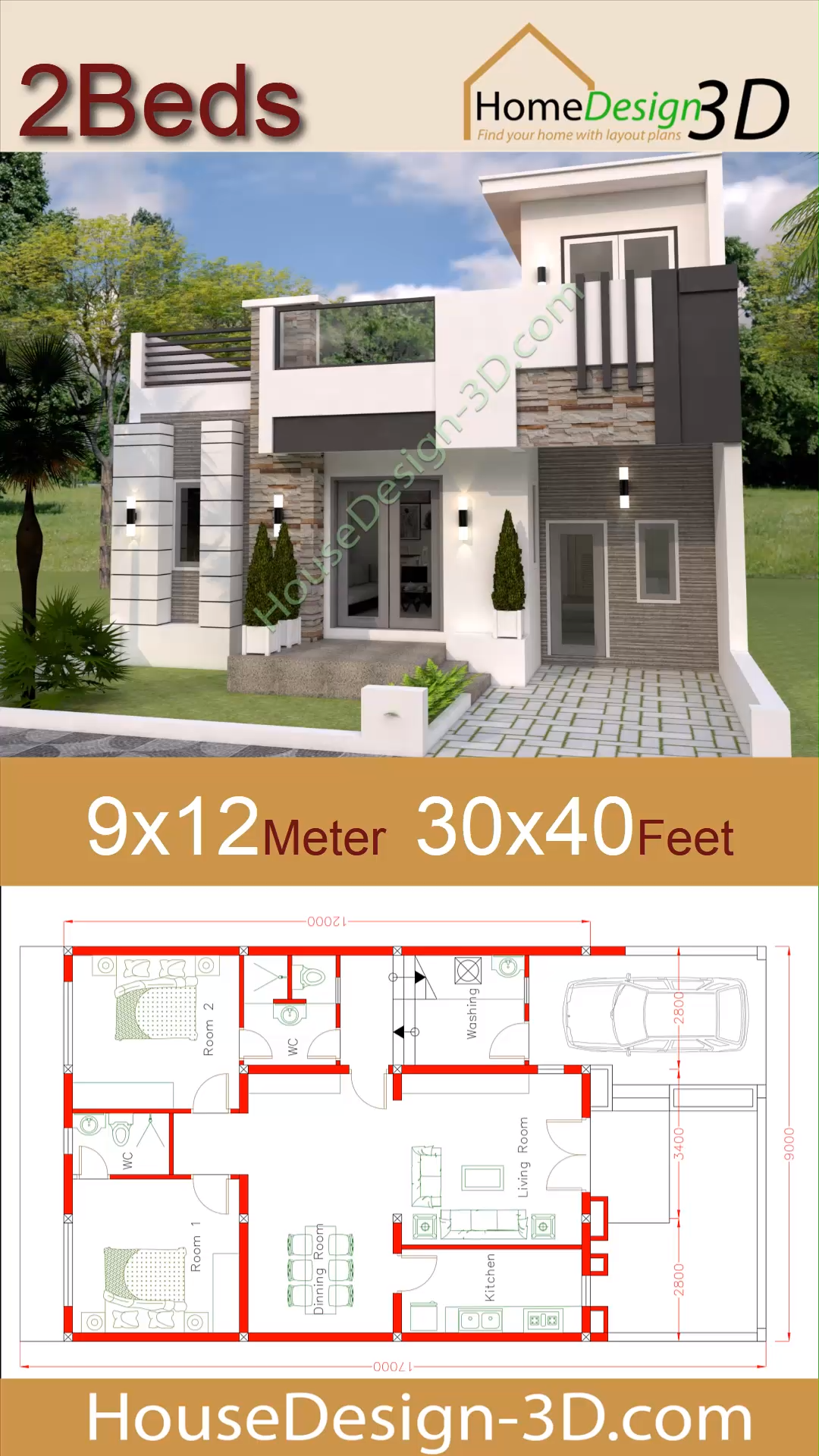 House Design 9×12 with 2 Bedrooms 30×40 Feet – small houses
