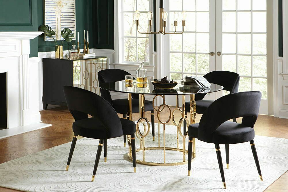 Round Glass Champagne Gold Dining Table Black Chairs Furniture