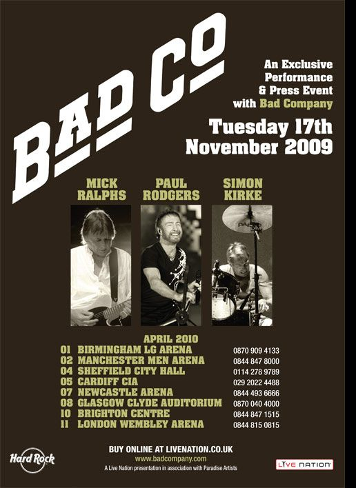 Bad Company Concerts Concert Posters Music Poster