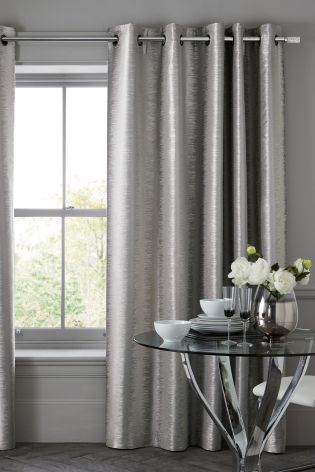 Buy Luxe Metallic Ikat Stripe Eyelet Curtains From The Next Uk Online Shop Silver Living Room Living Room Decor Gray Blackout Curtains Living Room