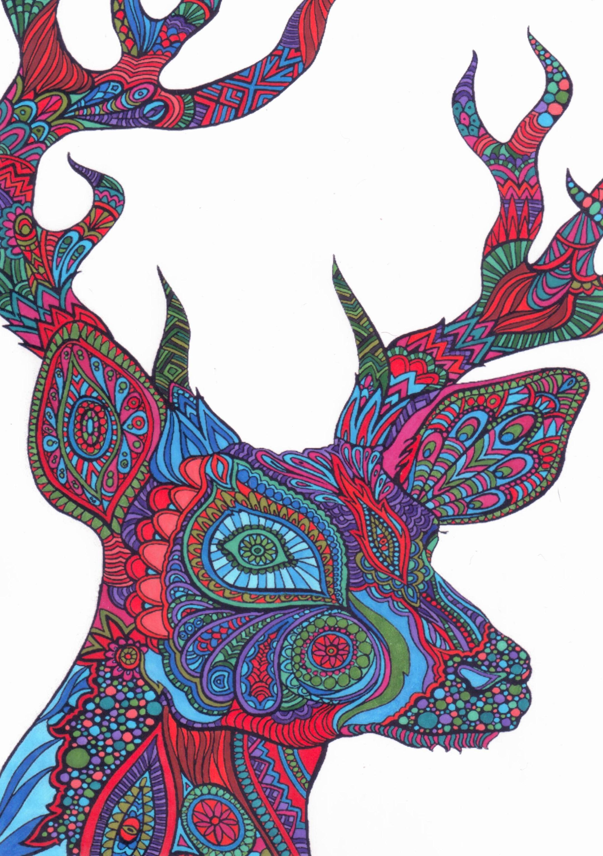Hert Deer Colouring Page Kleurboek Kleurplaten Kleuren