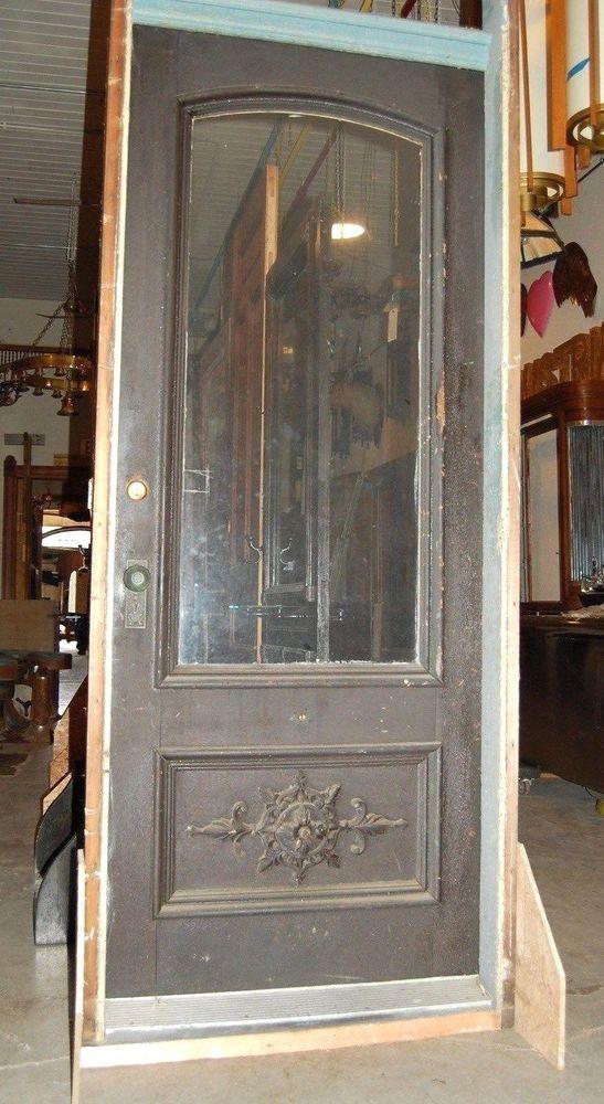 Vinatge Oak Door in Jamb w/ nice Applique, 3/4 Lite,1 Panel,Home & Garden