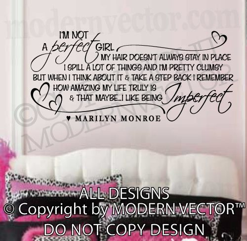 MARILYN MONROE Quote Vinyl Wall Decal Iu0027M NOT A PERFECT GIRL Vinyl Stickers Part 80