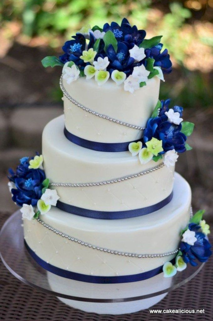 99 Amazing Navy Blue Wedding Cakes For Different Touch Vis Wed Green Wedding Cake Spring Wedding Cake Wedding Cakes Blue