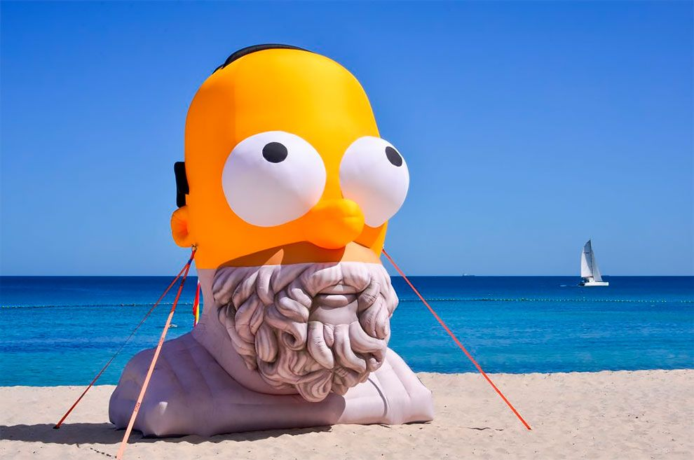 Homer Homer By Cool Shit Collective Is Seen During Sculpture By The Sea Festival In Australia Sea Sculpture Art Fair Art