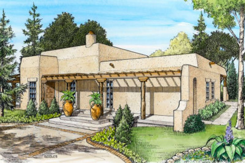 Adobe Southwestern Style House Plan 3 Beds 2 Baths 1263 Sq Ft Plan 140 143 Starter Home Plans Spanish Style Homes Southwest House