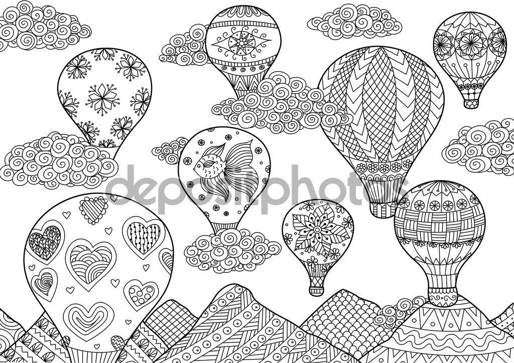 Globo aerostático volando, zentangle estilizado para colorear libro ...