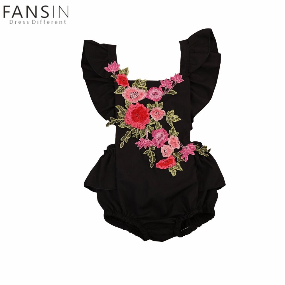 a342583e4663 Embroidery Newborn Baby Girl Floral Romper Summer Flower Sleeveless ...