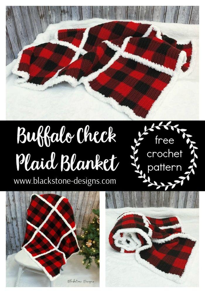 Fur Trimmed Plaid Crochet Blanket