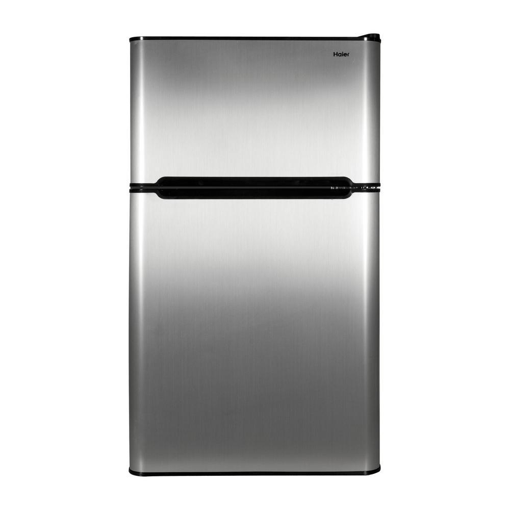 Haier 20 1 In W 3 2 Cu Ft Mini Refrigerator In Virtual Steel Compact Refrigerator Two Door Refrigerator Refrigerator Freezer