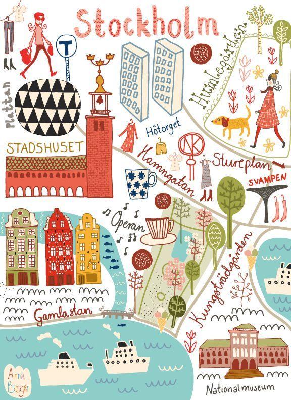 Mapa ilustrado de Estocolmo. # diseño # ilustración … – # Diseño # Ilustrado #il …