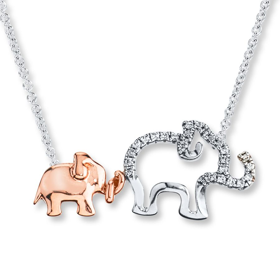 Jared Elephant Necklace 110 ct tw Diamonds Sterling Silver10K