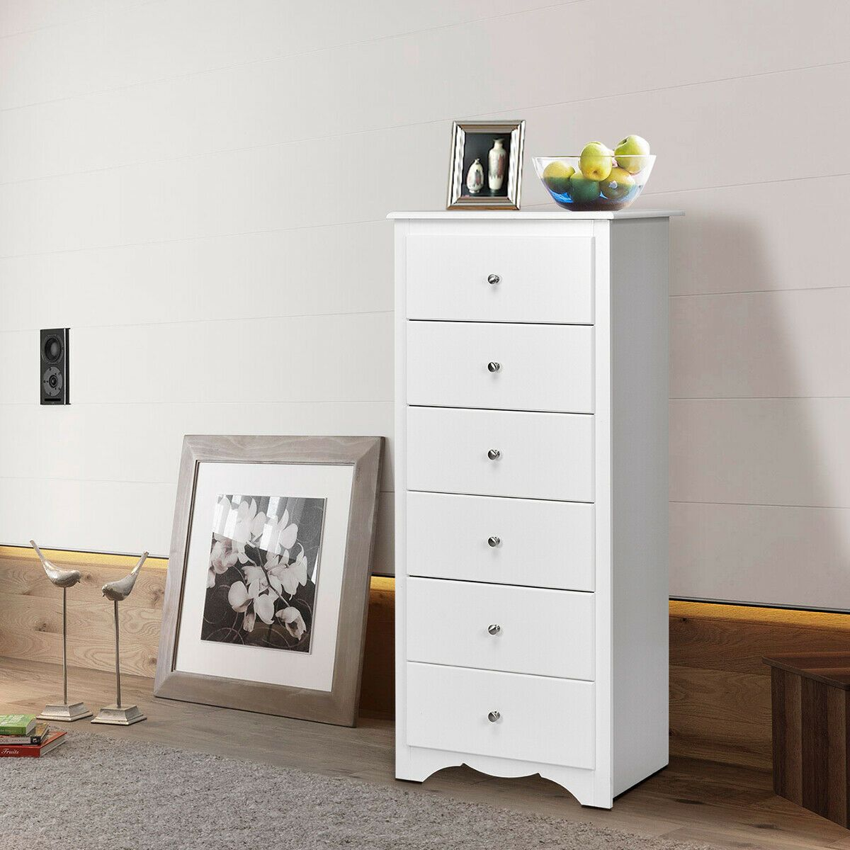 6 Drawers Chest Dresser Clothes Storage Bedroom Tall Furniture