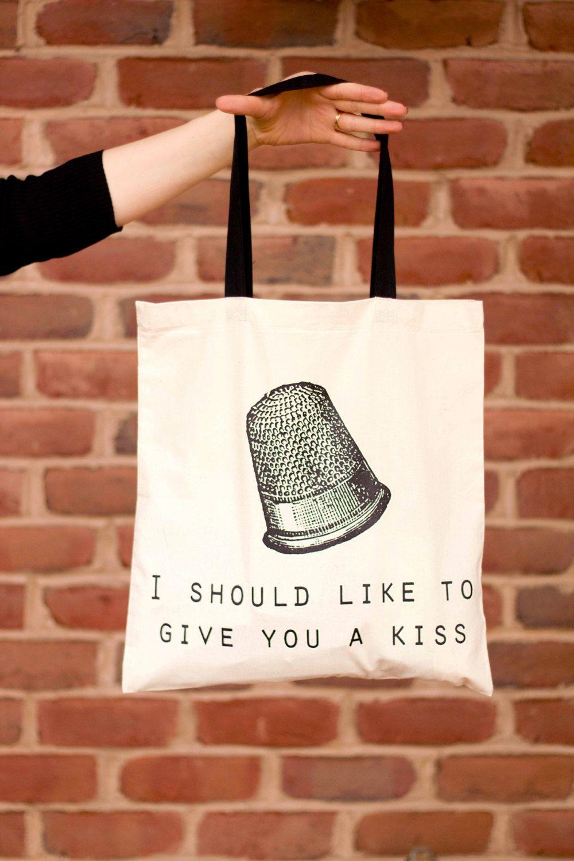Peter Pan Thimble Kiss Canvas Tote Bag You Choose Handle Color