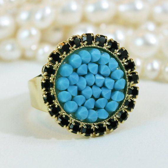 Black  diamond# Turquoise# Ring #Black@Tour@ Cocktail Gold  Ring ###Blue