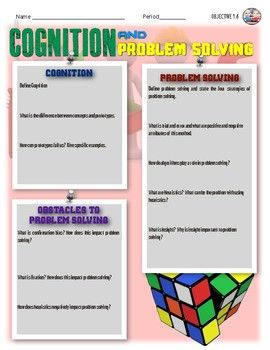 Cognition In Psychology Activity Psychology Cognitive Activities
