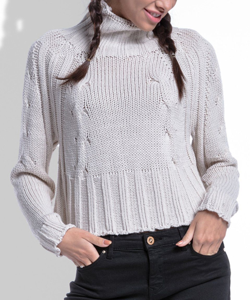 Take a look at this White Crop Turtleneck Sweater today! | Smokin ...