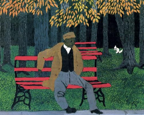 Horace Pippin's final painting,Man on a Bench, 1946. Oil on canvas.    Read more about the art, life, and legacy of Horace Pippin at Gwarlingo: http://www.gwarlingo.com/2013/horace-pippin/