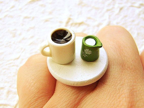 Kawaii Food Ring Coffee Cream Miniature Food Jewelry