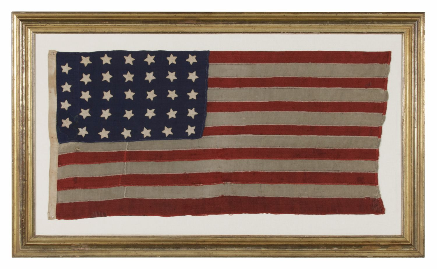 34 Stars On A Homemade And Entirely Hand Sewn Flag Of The Civil War Period The Smallest I Have Ever Encountered Am Civil War Flags American Antiques Civil War