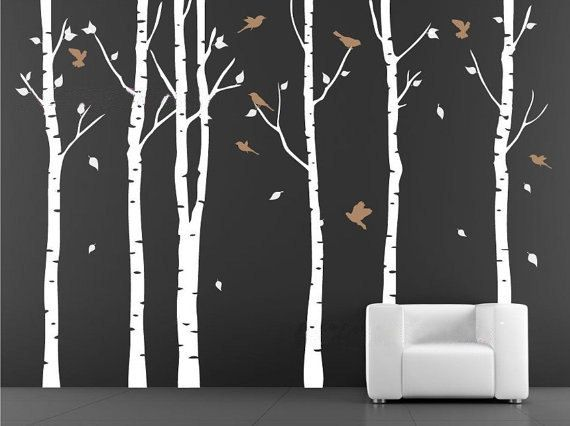 Birch Tree With Flying Birds Vinyl Wall Decal Decals Nursery Stickers Living Room Baby White Trees Forest On Etsy