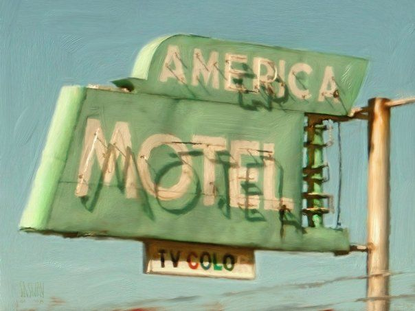 """America Motel"" Digital Painting, Adobe CS6 PS & Corel Painter 2008  SASWAY ILLUSTRATION©  www.MarkSasway.com"