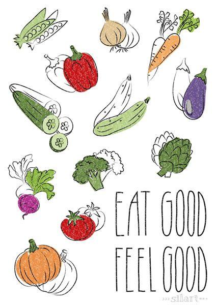eat good feel good illustration print poster gem se garten gesund essen k che kitchen. Black Bedroom Furniture Sets. Home Design Ideas
