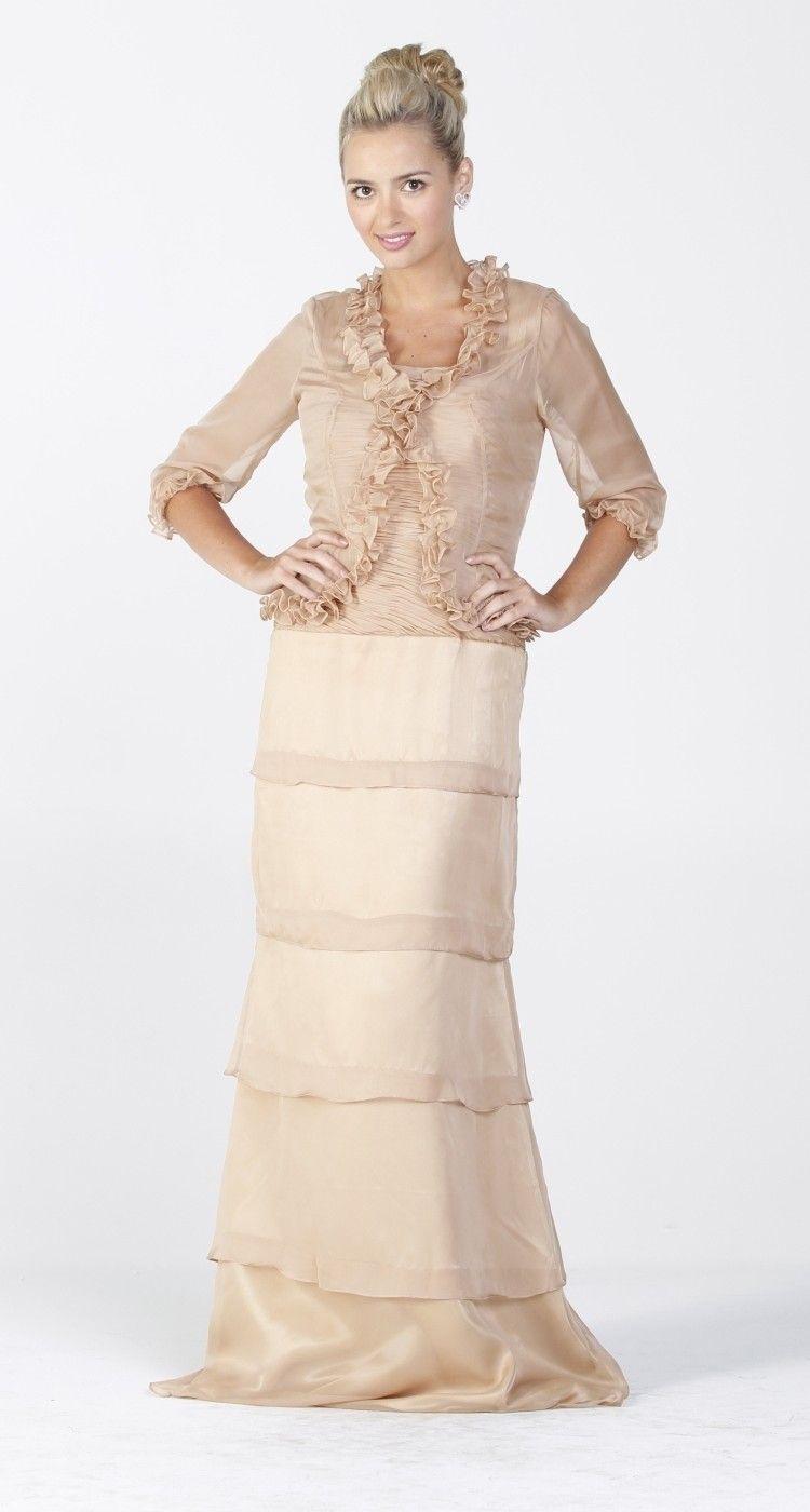 Long Modest Formal Dress Champagne Ruffles Bolero Jacket Layered Skirt   147.99 for my momma f5d3dd908