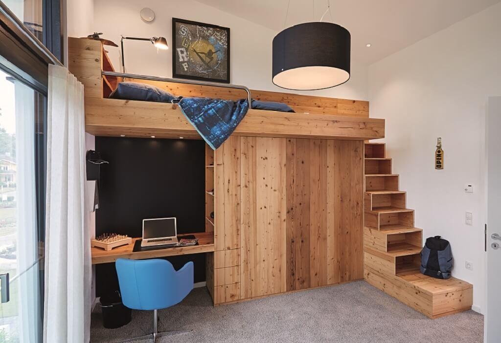 Kinderzimmer Ideen mit Hochbett und Einbaumöbel - Inneneinrichtung ...