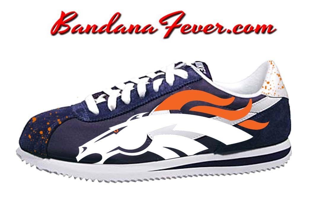 56a92c20b86002 Custom Broncos Nike Cortez Nylon Midnight Navy White
