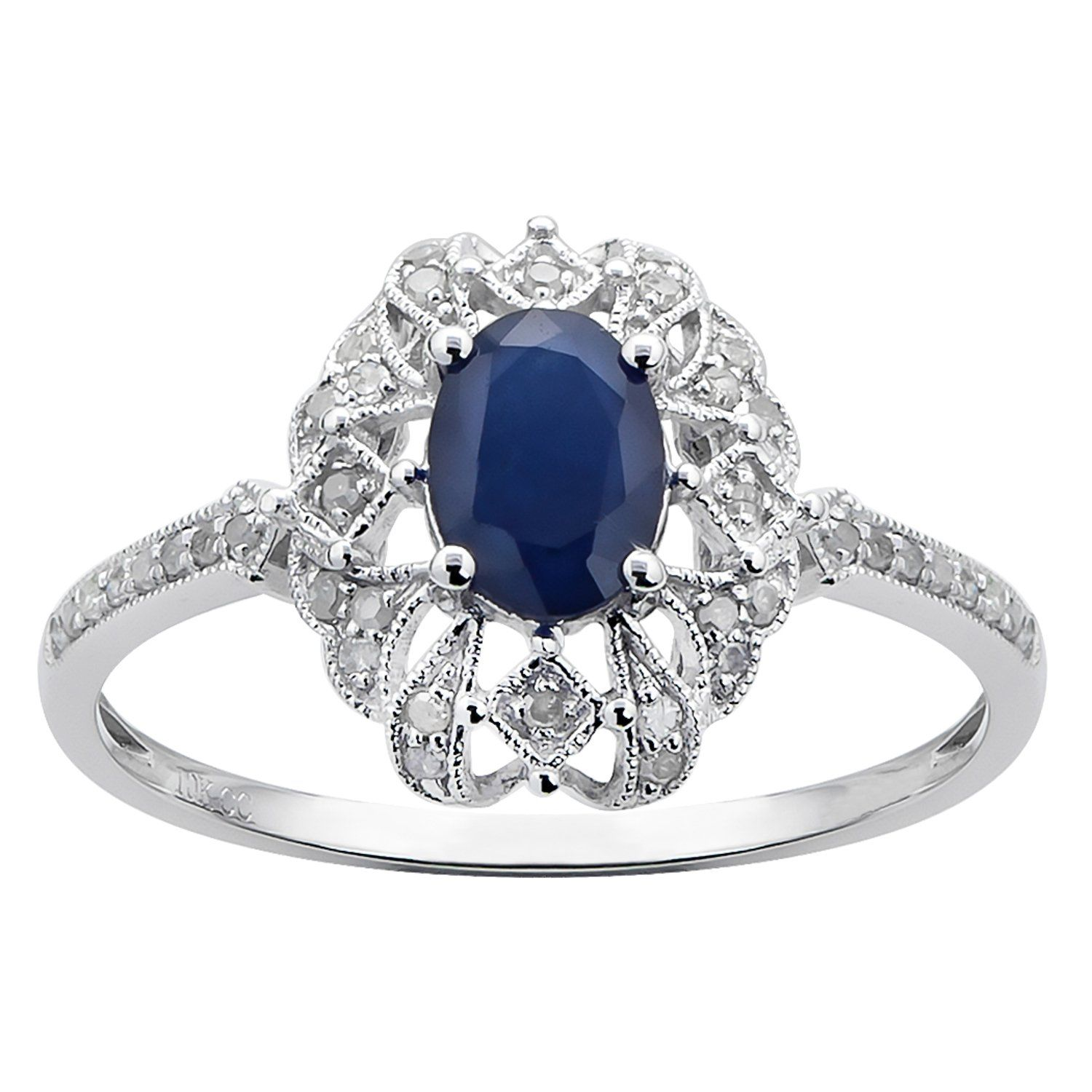 10k White Gold Genuine Oval Vintage Style Sapphire and