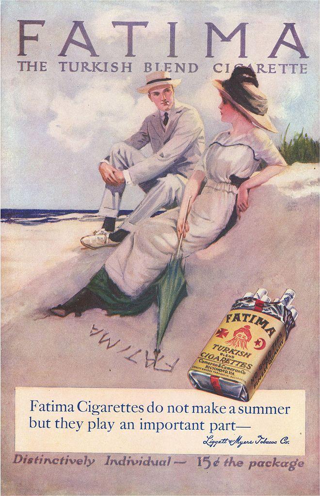 1914 - Fatima Turkish Blend Cigarette | 1914 advertisement for Fatima Turkish Blend cigarettes by Liggett & Myers.