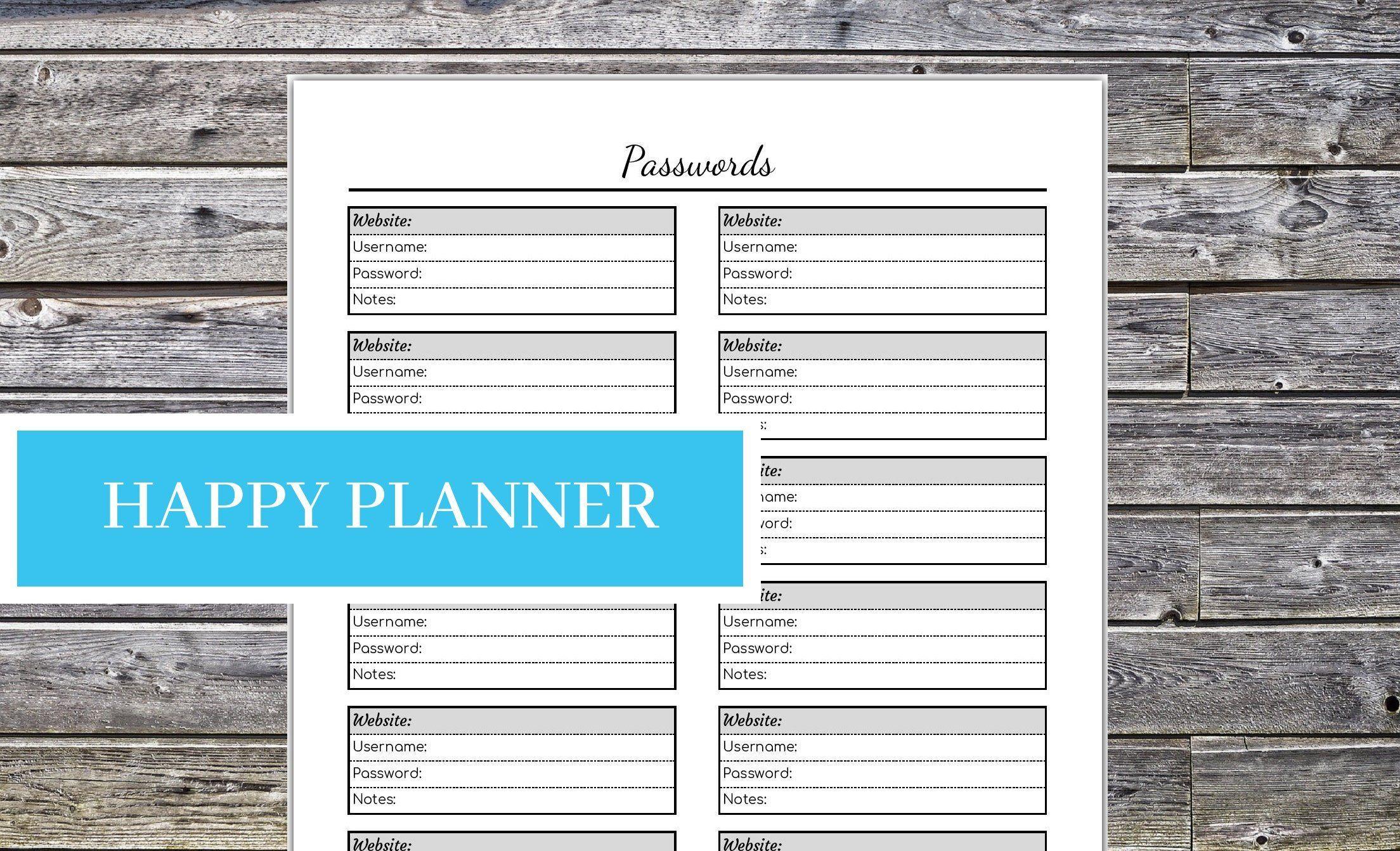 Happy Planner Password Tracker Editable Printable